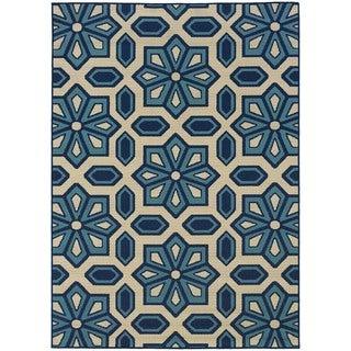 Carson Carrington Naestved Tiles Ivory/Blue Indoor-Outdoor Area Rug - 5'3 x 7'6