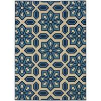 Carson Carrington Naestved Tiles Ivory/Blue Indoor-Outdoor Area Rug - 7'10 x 10'10