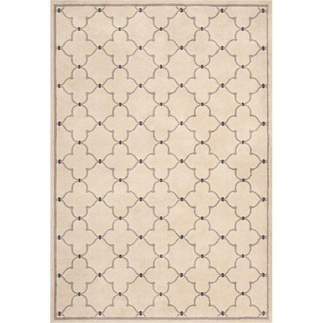 Miramar Ivory/ Grey Contemporary Area Rug (5'3 x 7'6)
