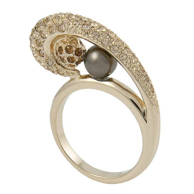 Michelle Monroe Faux Pearl and Crystal Swirl Ring Made with SWAROVSKI Elements