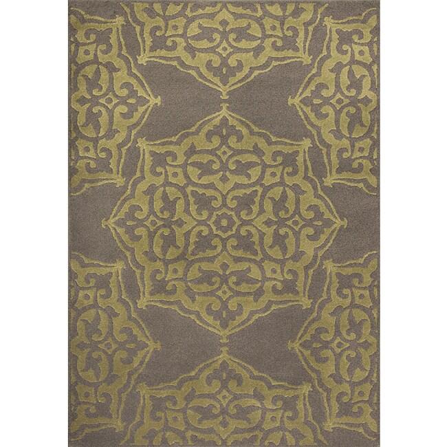 Miramar Grey/Green Floral Area Rug (7'10 x 10'0)