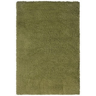 Manhattan Green/ Tan Shag Area Rug (7'10 x 11'2)