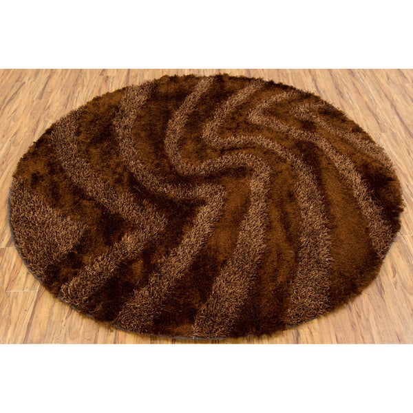 Artist's Loom Hand-woven Shag Rug (7'9 Round) - 7'9