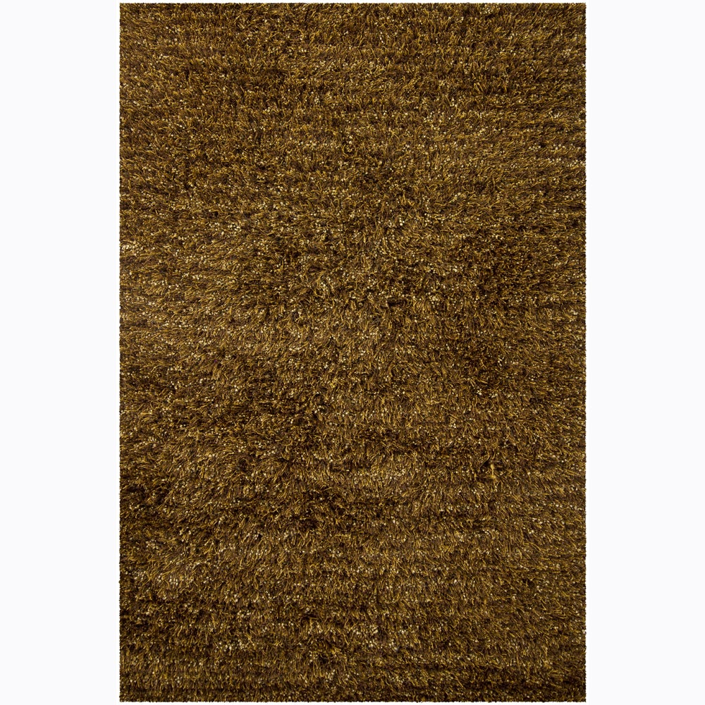 Handwoven Brown/Black Mandara Shag Rug (7'9 x 10'6)