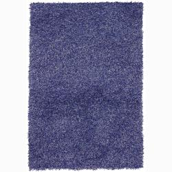 Handwoven Purple/Blue Mandara Shag Rug (5' x 7'6)