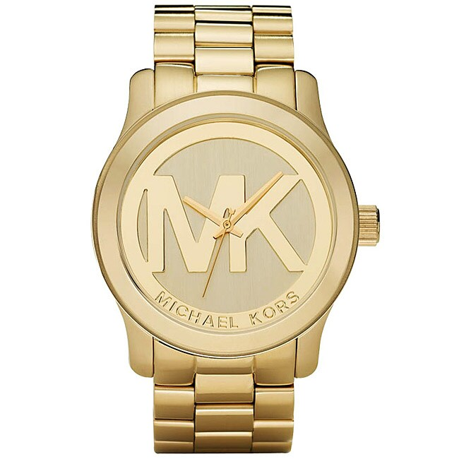michael kors women 39 s mk5473 gold tone logo stainless steel watch free shipping today. Black Bedroom Furniture Sets. Home Design Ideas