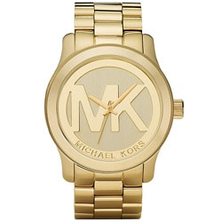 Michael Kors Women's MK5473 Gold-Tone Logo Stainless Steel Watch