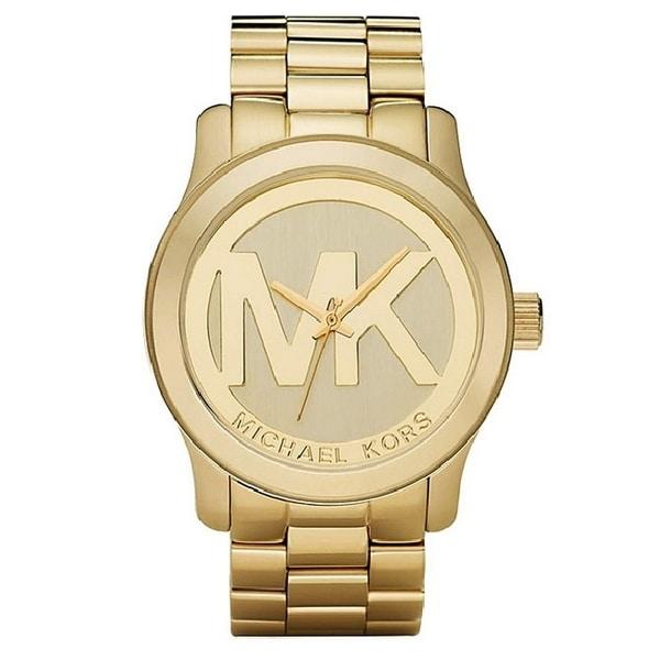 Michael Kors Women's MK5473 Gold-Tone Logo Stainless Steel Watch. Opens flyout.