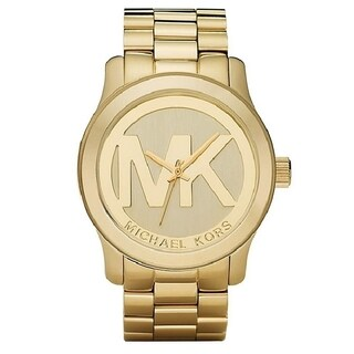 Michael Kors Women's MK5473 Goldtone Boyfriend Logo Watch - GOLD