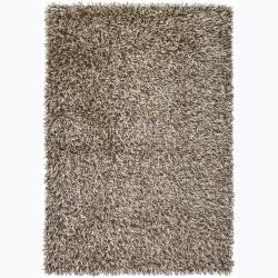 Handwoven Gray/Beige Mandara Shag Rug (4' x 6')