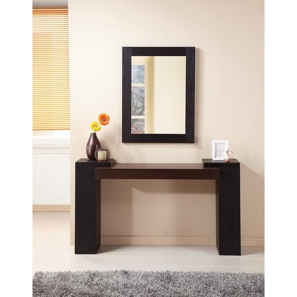 Furniture Of America Modal 2 Piece Sofa Table And Mirror Set Black