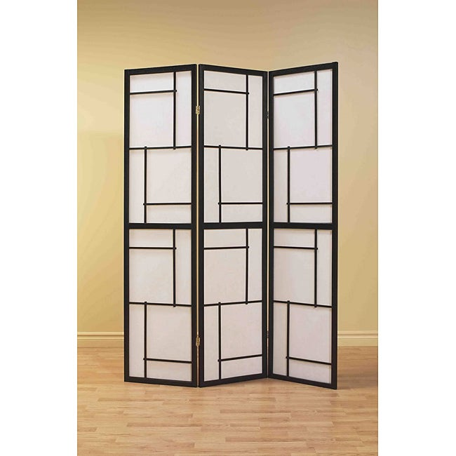 Black Wood Framed 3-panel Room Divider - Thumbnail 0