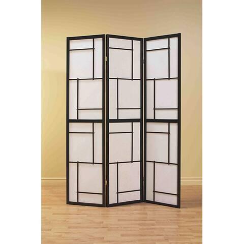 Black Wood Framed 3-panel Room Divider