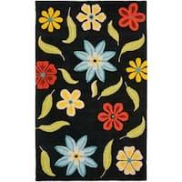 Safavieh Handmade Blossom Black Wool Area Rug - 5' x 8'