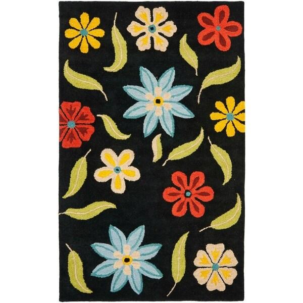 Safavieh Handmade Blossom Black Wool Area Rug - 8' x 10'