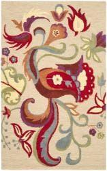Safavieh Handmade Blossom Beige Wool Area Rug - 5' x 8'