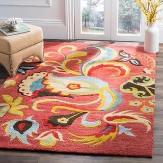 Safavieh Handmade Blossom Vibrant Rust Wool Rug (5' x 8')