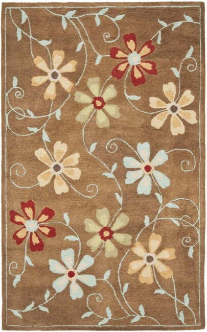 Safavieh Handmade Blossom Camel Wool Rug (4' x 6')