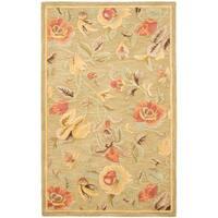 Safavieh Handmade Blossom Green Wool Rug - 4' x 6'