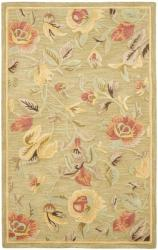 Safavieh Handmade Blossom Green Wool Rug (5' x 8')