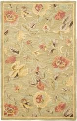 Safavieh Handmade Blossom Green Wool Rug - 5' x 8'
