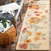 "Safavieh Handmade Blossom Beige Wool Runner Rug - 2'3"" x 8'"