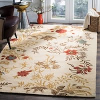 Safavieh Handmade Blossom Beige Traditional Floral Wool Rug - 8' x 10'