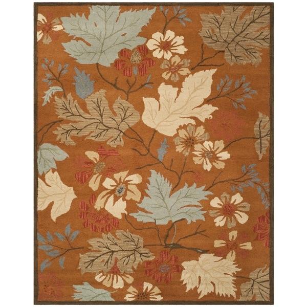 Safavieh Classic Handmade Blossom Rust Wool Rug - 8' x 10'