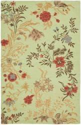 Safavieh Handmade Blossom Green/ Rust Wool Rug (4' x 6')