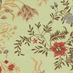Safavieh Handmade Blossom Green/Rust Wool Rug (5' x 8')
