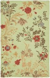 Safavieh Handmade Blossom Green/ Rust Wool Rug (5' x 8')