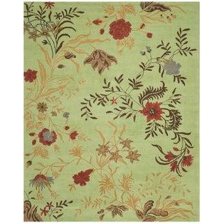 Safavieh Handmade Blossom Green/ Rust Wool Rug (8' x 10')