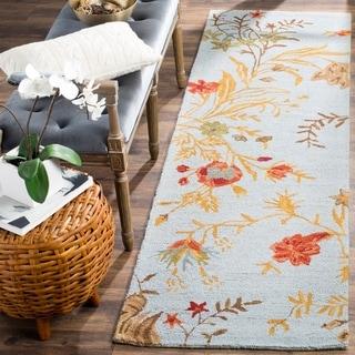 Safavieh Handmade Blossom Blue Wool Rug (2'3 x 8')