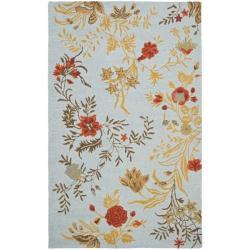Safavieh Handmade Blossom Blue Wool Rug (4' x 6')