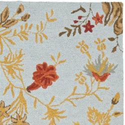 Safavieh Handmade Blossom Light Green Wool Rug (8' x 10')