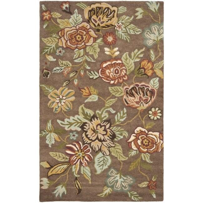 Safavieh Handmade Blossom Brown Wool Rug (8' x 10')