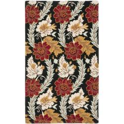 Safavieh Handmade Blossom Black Wool Rug - 5' x 8' - Thumbnail 0