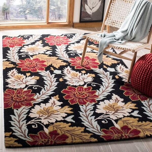 Safavieh Handmade Blossom Black Wool Rug - 5' x 8'