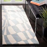 "Safavieh Handmade Soho Modern Abstract Blue Wool Runner Rug - 2'6"" x 8'"