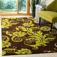 Safavieh Handmade New Zealand Wool Paris Brown/ Green Rug - 5' x 8'