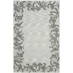Safavieh Handmade New Zealand Wool Floral Border Silver Rug (5'x 8')