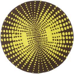 Safavieh Handmade New Zealand Wool Infinity Brown Rug (6' Round) - 6' Round - Thumbnail 0
