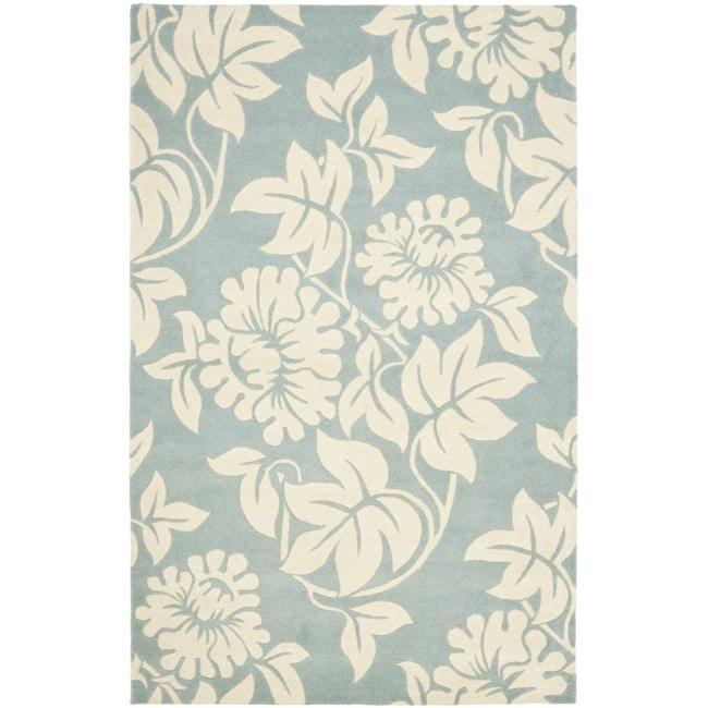 Safavieh Handmade New Zealand Wool Bliss Blue Rug - 7'6 x 9'6