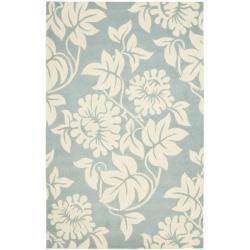 Safavieh Handmade New Zealand Wool Bliss Blue Rug - 7'6 x 9'6 - Thumbnail 0