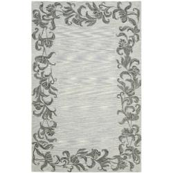 Safavieh Handmade New Zealand Wool Floral Border Silver Rug (3'6 x 5'6')