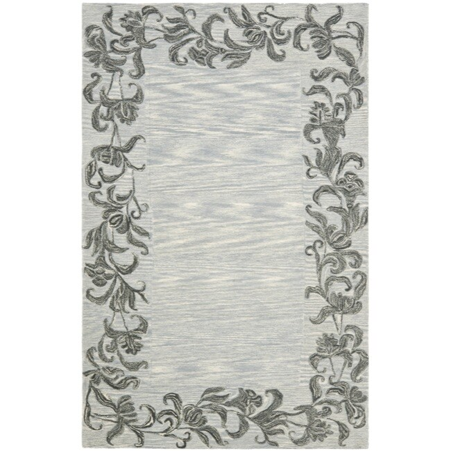Safavieh Handmade New Zealand Wool Floral Border Silver Rug - 7'6 x 9'6