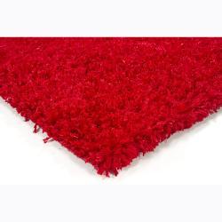 Handwoven Bright Red Mandara Shag Rug (9' x 13')