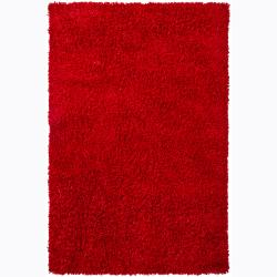 Handwoven Bright Red Mandara Shag Rug (9' x 13')