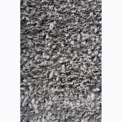 Handwoven Gray Viscose Mandara Shag Rug (5' x 7'6) - Thumbnail 2