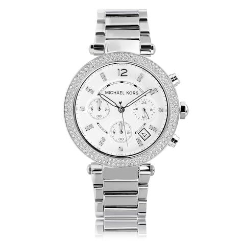 Michael Kors Women's MK5353 Crystal Bezel Stainless Steel Chronograph Watch - silver